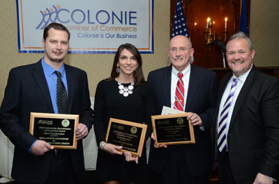 Assistant Vice President for Facilities Management Mark Frost (third from left) with other award winners and Colonie Chamber President Tom Nolte (right).