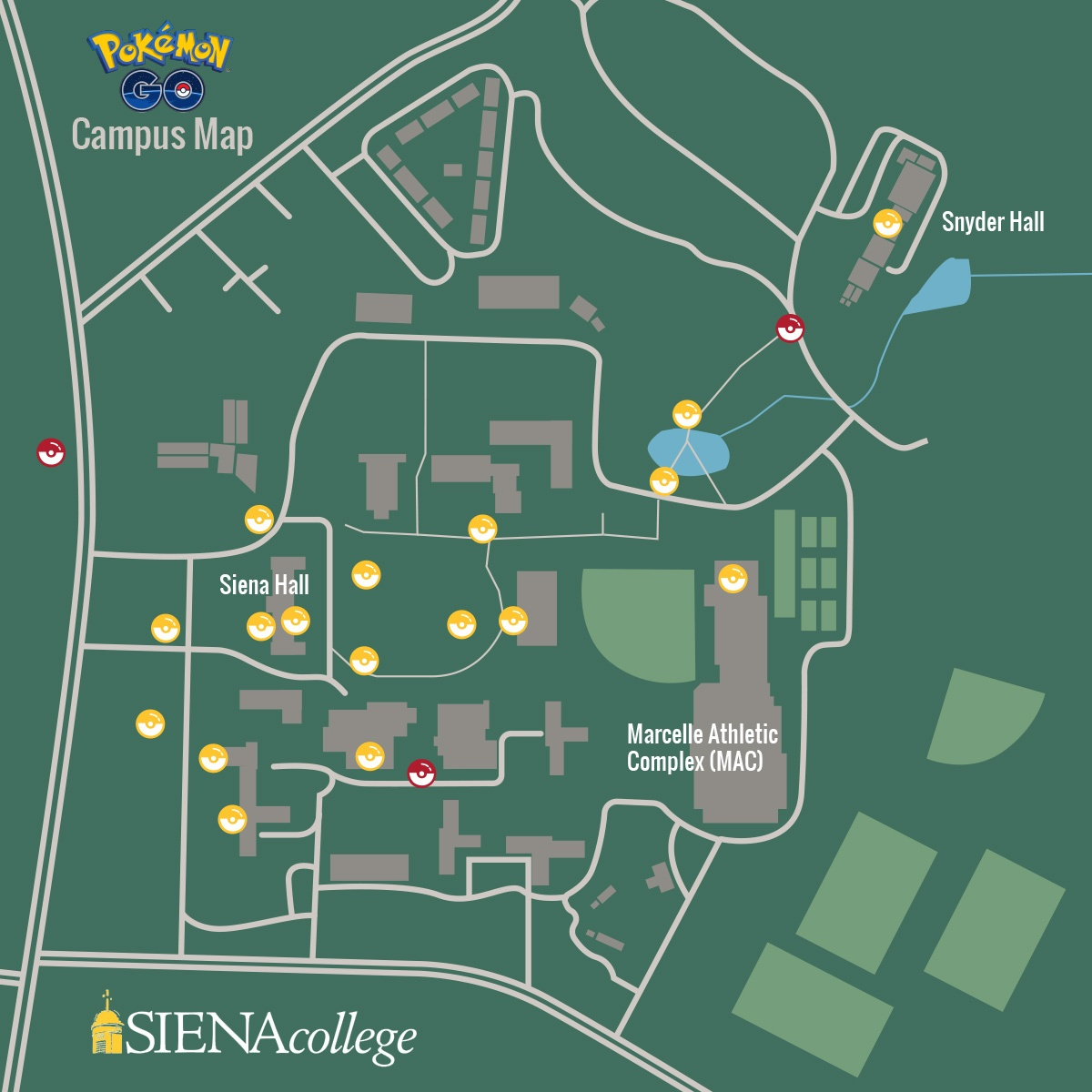 siena college campus map The Official Siena College Pokemon Go Map Siena College siena college campus map