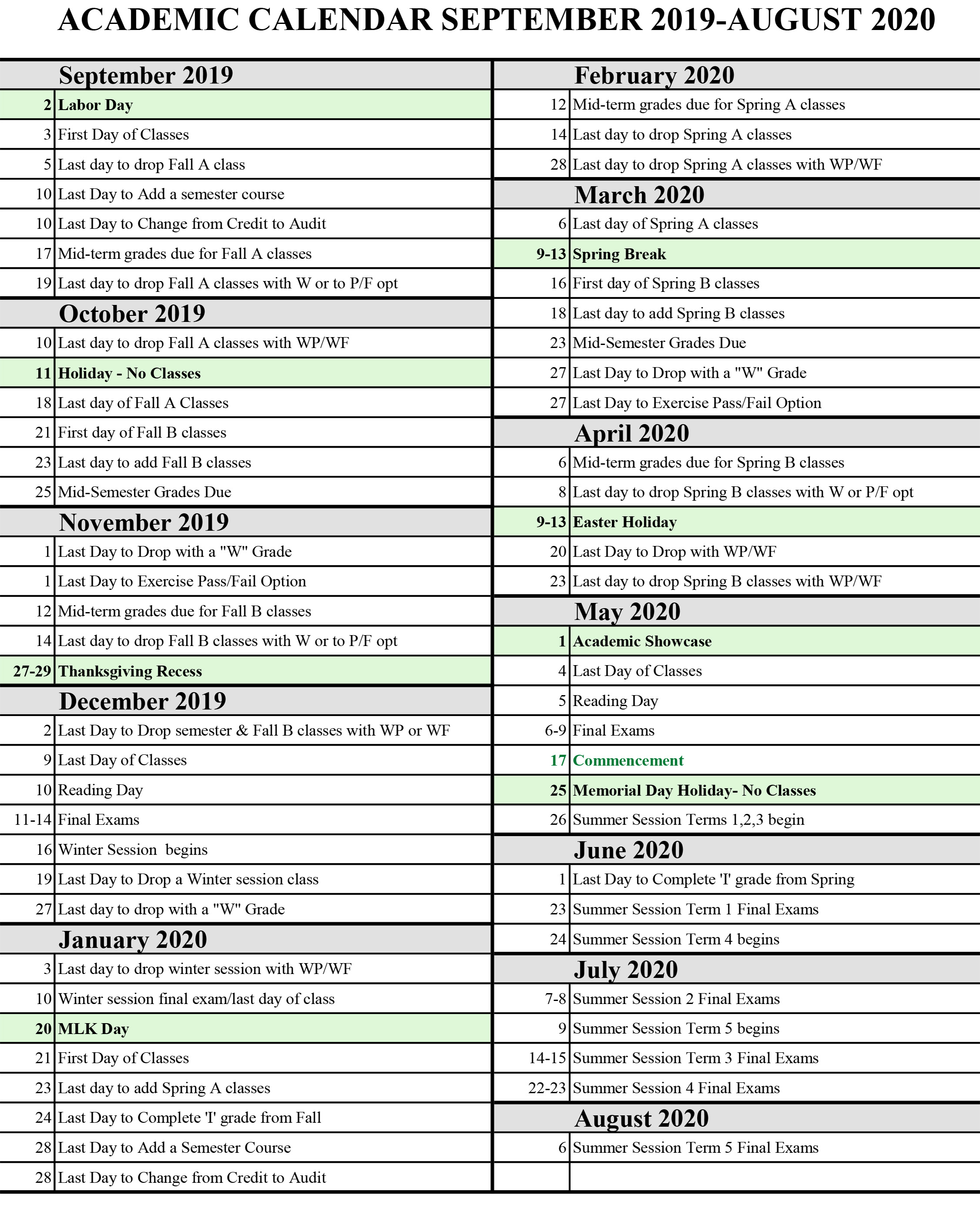 Fall Calendar 2020 Calendars | Siena College