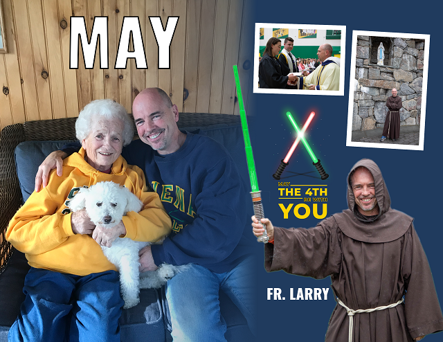 Fr. Larry poses for the May portion of the calendar