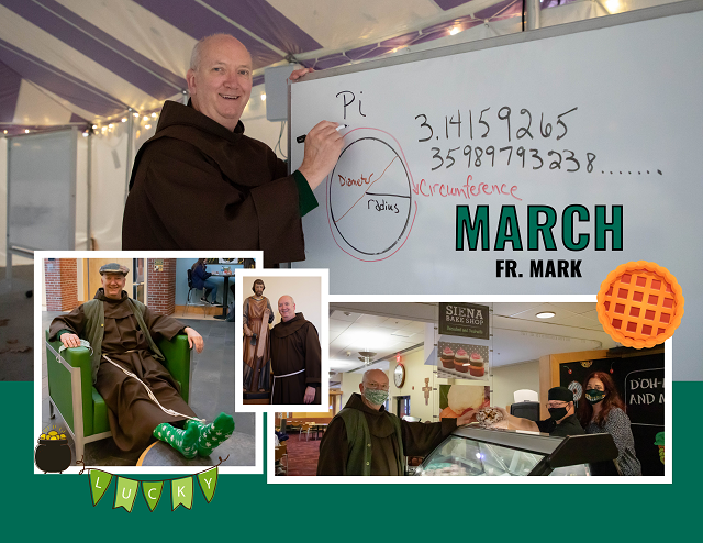 Fr March poses for March calendar page