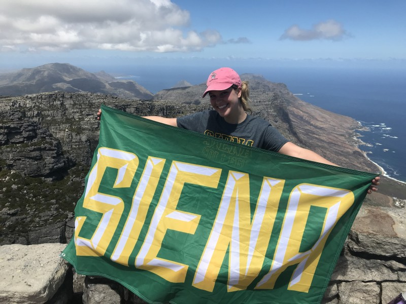 Camryn '20 shows off her Siena pride in South Africa