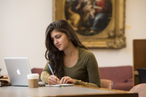 girl sitting in library