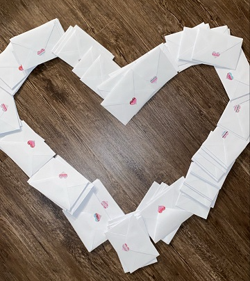 valentines cards displayed in a heart