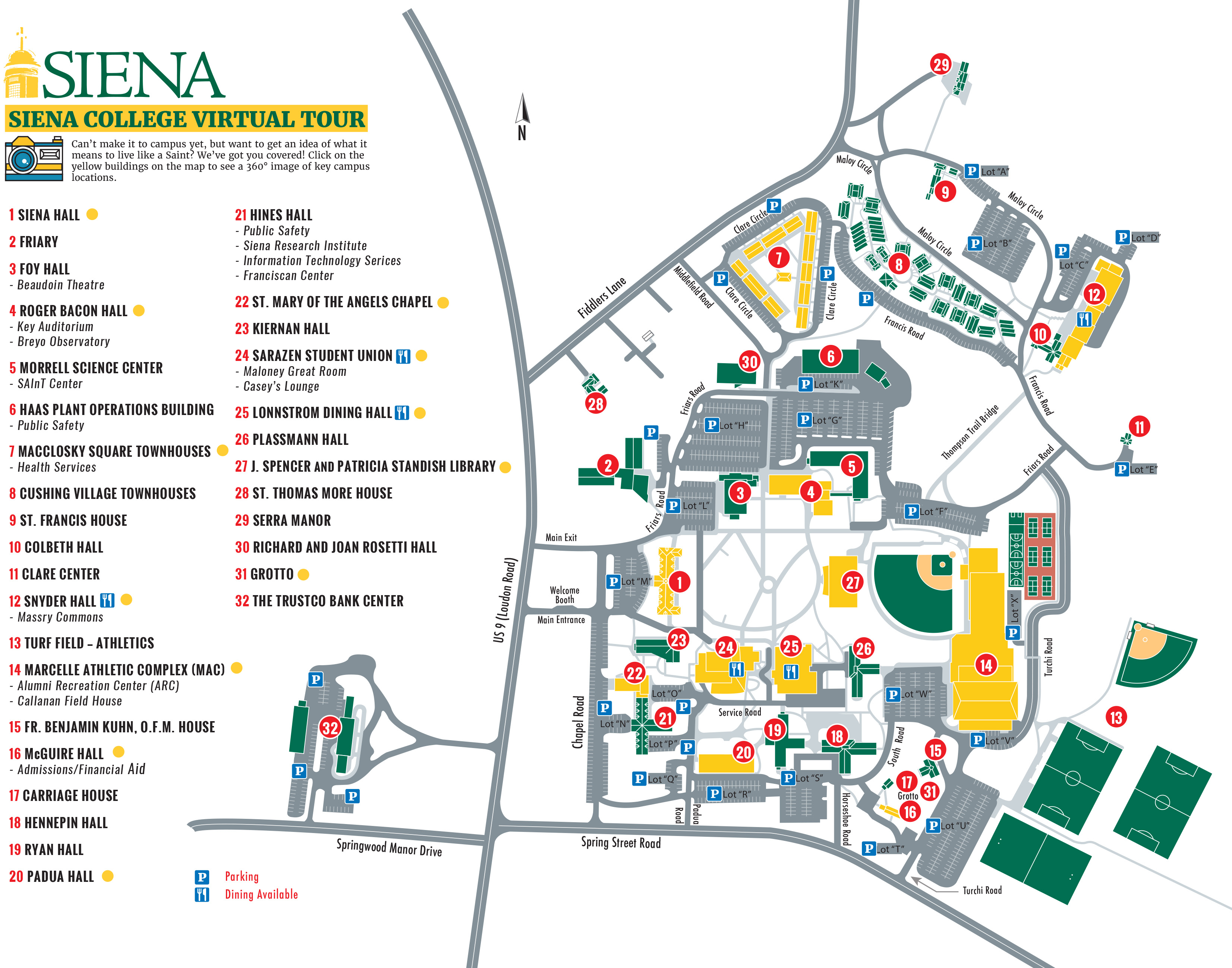 siena college campus map Virtual Campus Map Siena College siena college campus map